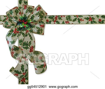 Christmas Border Holly ribbon and bow