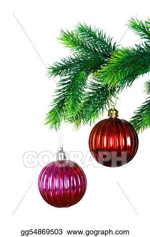 Christmas decoration on the tree isolated on white