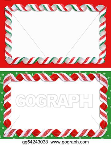 Stock Illustrations - Christmas label borders ribbon candy . Stock ...
