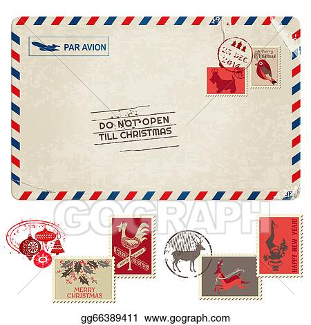 Clipart Christmas Vintage Postcard With Postage Stamps