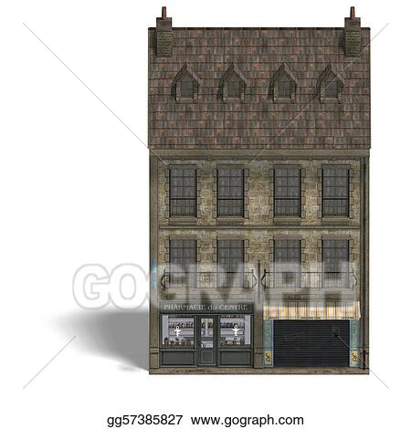 City Building Pharmacy. 3D rendering with clipping path and shadow over white