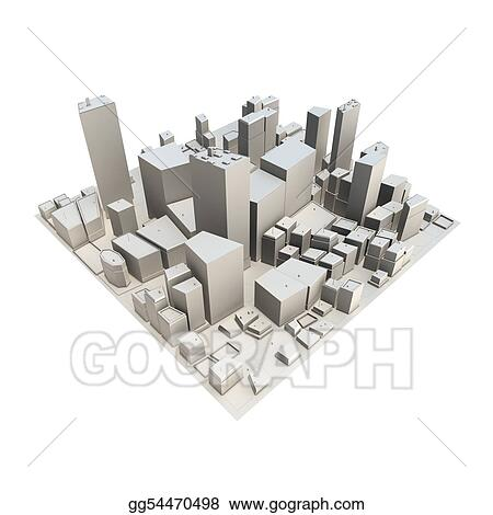 Cityscape Model 3D - No Shadow