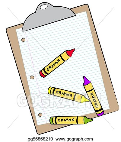 Stock illustration clipboard with paper and crayons for Drawing on wax paper