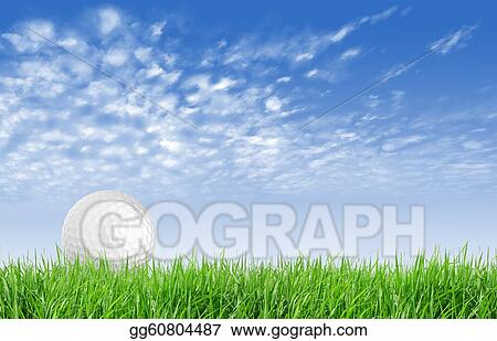 Close-up of golf ball with green grass and blue sky for web design background