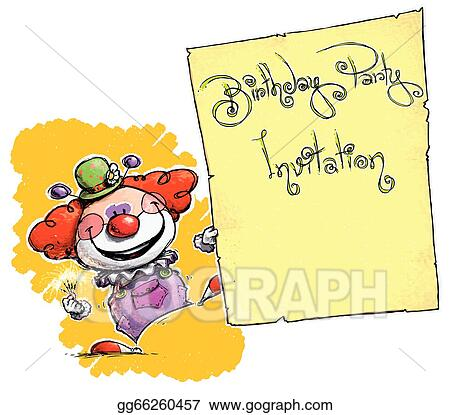 Clown Holding Invitation-Birthday Party