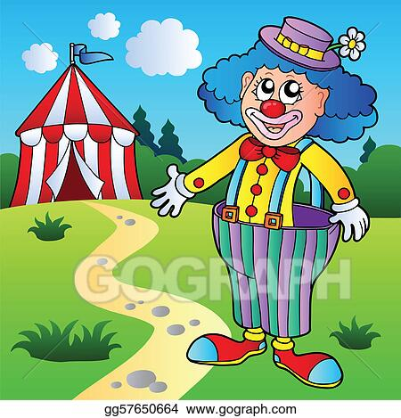 Stock Illustration - Clown in big pants with circus tent - vector ...