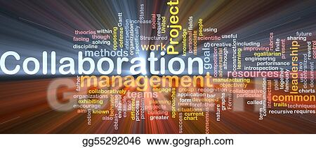 Collaboration management background concept glowing