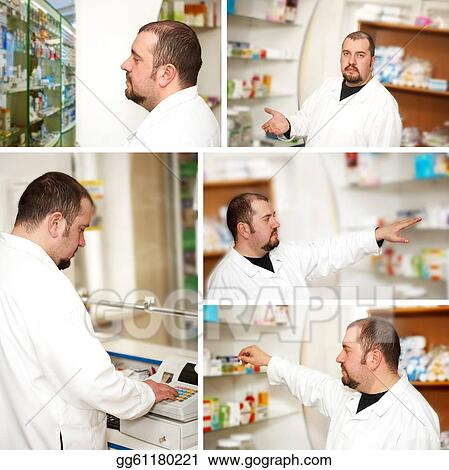 Collage. Pharmacist at pharmacy