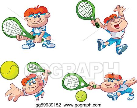 Vector Illustration - Collection of cartoon tennis player. Stock ...