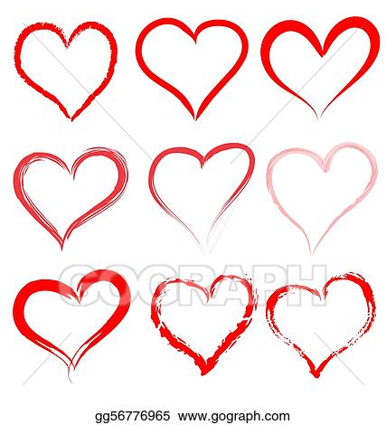 Collection of red artistic hearts
