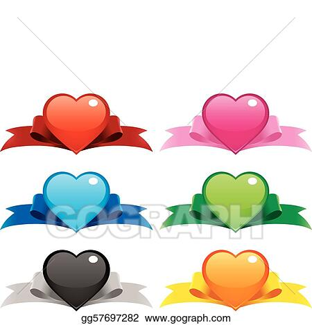 Collection of vector illustrations of hearts on ribbons. File is layered for easier editing, you can even mix-and-match the hearts and ribbons! Perfect for your valentine web buttons, ornaments, banne
