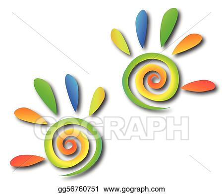 Colored spiral hands with fingers. Vector