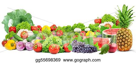 Colorful healthy fresh fruits and vegetables