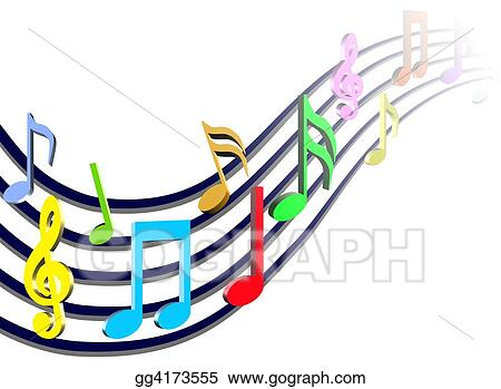Drawing - Colorful Music Notes. Clipart Drawing gg4173555