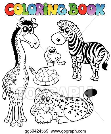 EPS Illustration Coloring book tropical animals 1. Vector Clipart gg59424559 GoGraph