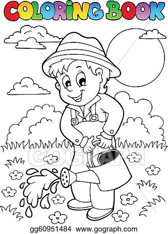 EPS Vector - Coloring book garden and gardener. Stock Clipart ...