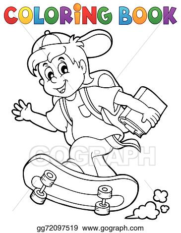 EPS Illustration - Coloring book school boy theme 1. Vector ...