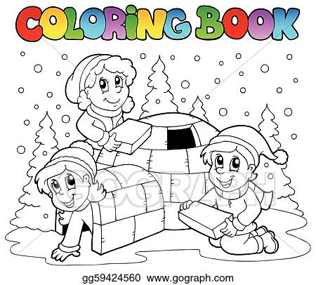 EPS Illustration - Coloring book winter scene 1. Vector Clipart ...