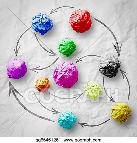 Social network structure on wrinkled paper creative concept stock