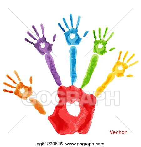 Clip Art Vector - Colourful handprint paint. Stock EPS gg61220615 ...