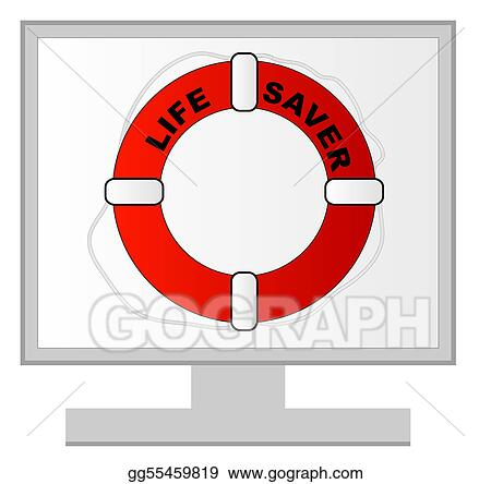 computer monitor with life preserver on the screen