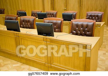 Conference halls with magnificent leather armchairs and wooden tables with microphones and monitors, foreshortening sideways