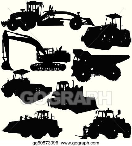 Drawing illustration of construction equipments packages collections