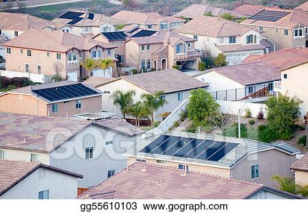 Contemporary Neighborhood Roof Tops with Solar Panels