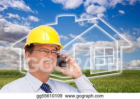 Contractor in Hardhat on Phone Over House, Grass and Clouds
