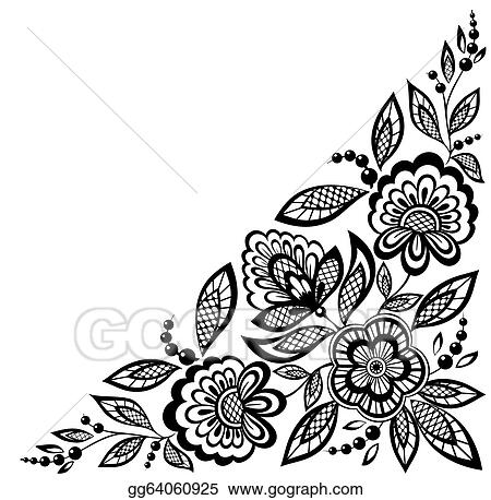 Black  White Lace Dress on Lace Flowers Are Decorated In Black And White  Clipart Gg64060925