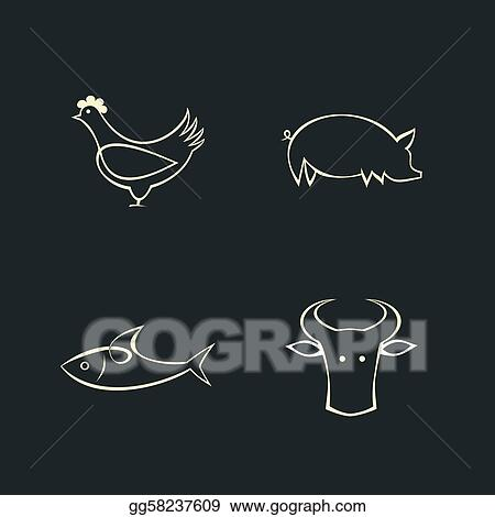 Cow, fish, chicken and pig