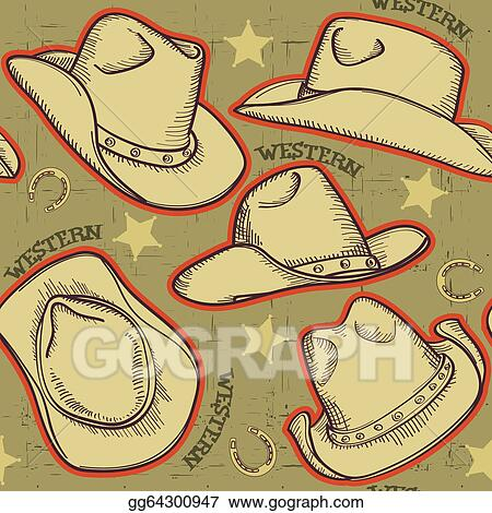 Cowboy hats seamless pattern for western background.Vector illus