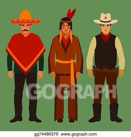 EPS Illustration - Cowboy, indian and mexican. Vector Clipart ...