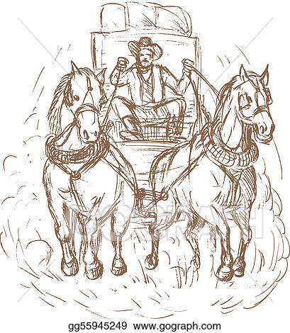 Cowboy stagecoach driver and horses front view isolated on white.
