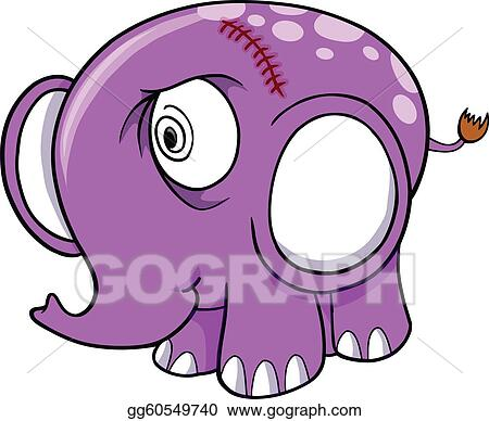Crazy Insane Elephant Vector