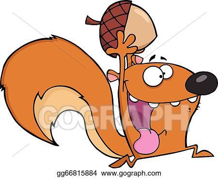 Vector Clipart - Crazy squirrel with acorn. Vector ...