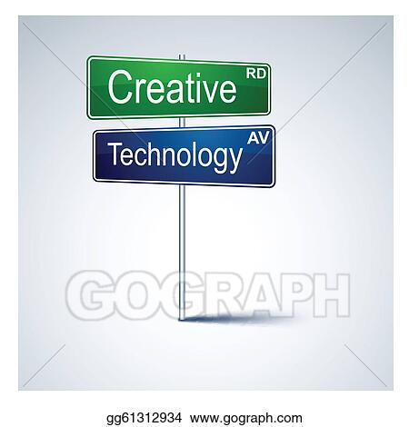 Creative technology direction road sign.
