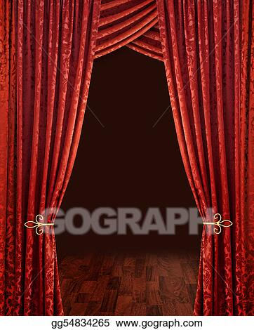 Clip Art   Red Theatre Stage Curtains Brown Wooden Floor And Dark  Background. Stock Illustration Gg54834265