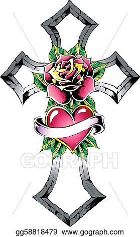 cross heart rose ribbon sign Drawings Of Crosses And Roses