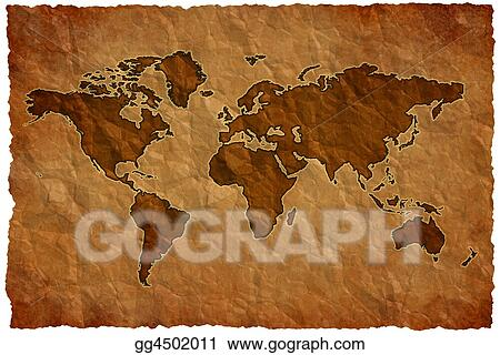 Crumple paper world map