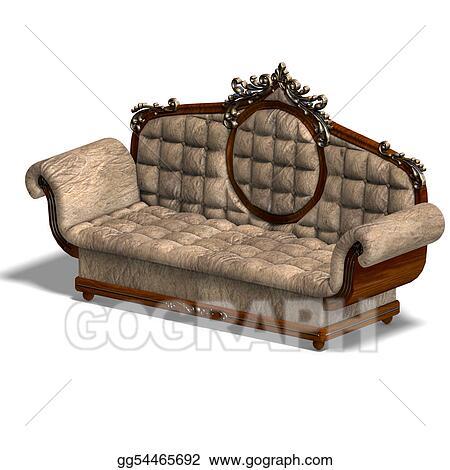 Stock illustration cushy sofa of louis xv clip art for Divan unwind