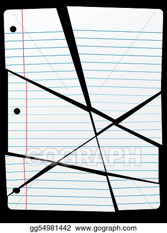 Vector Stock - Cut torn up ruled notebook paper pieces. Clipart ...