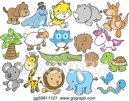 Cute Animal Design Elements Vector