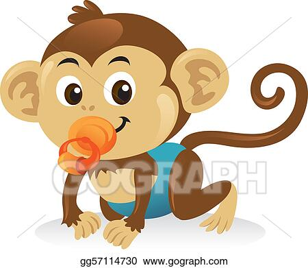 Cute baby monkey with a pacifier in a crawling pose.