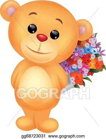 of cute bear cartoon holding flower bucket stock clipart gg68723031