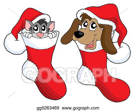 Stock Illustration - Cute cat and dog in christmas socks. Clipart ...