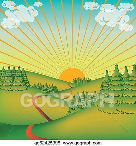 Stock Illustrations - Cute countryside valley - illustration ...