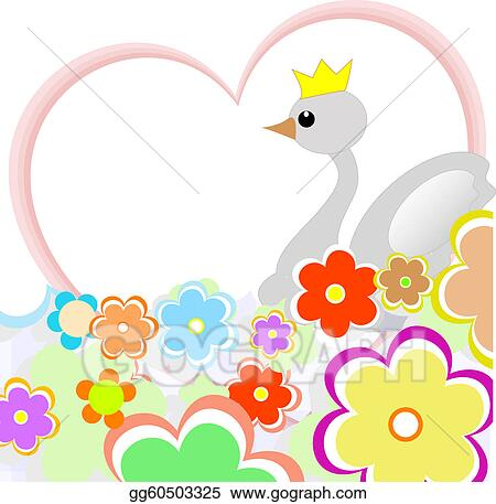 cute duck in heart with flowers. greeting card