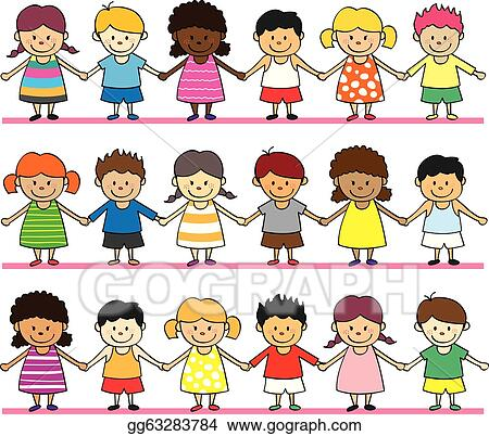 Kids holding hands in a line clipart cute kid holding hands