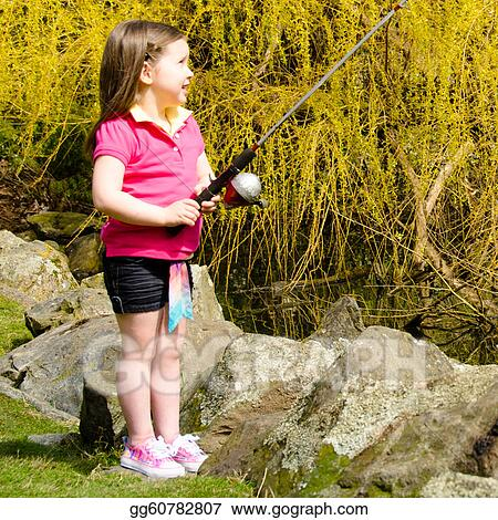 Stock photography cute little girl with fishing rod for Little girl fishing pole